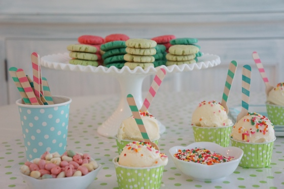 color cookies and ice cream dishes