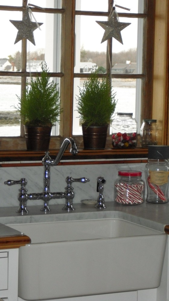 the cottage sink with christmas candy jars