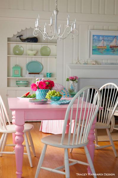 Pink Dining Room, Turquoise, Sarasota Interior Design, Interior Design, Sarasota  FL,
