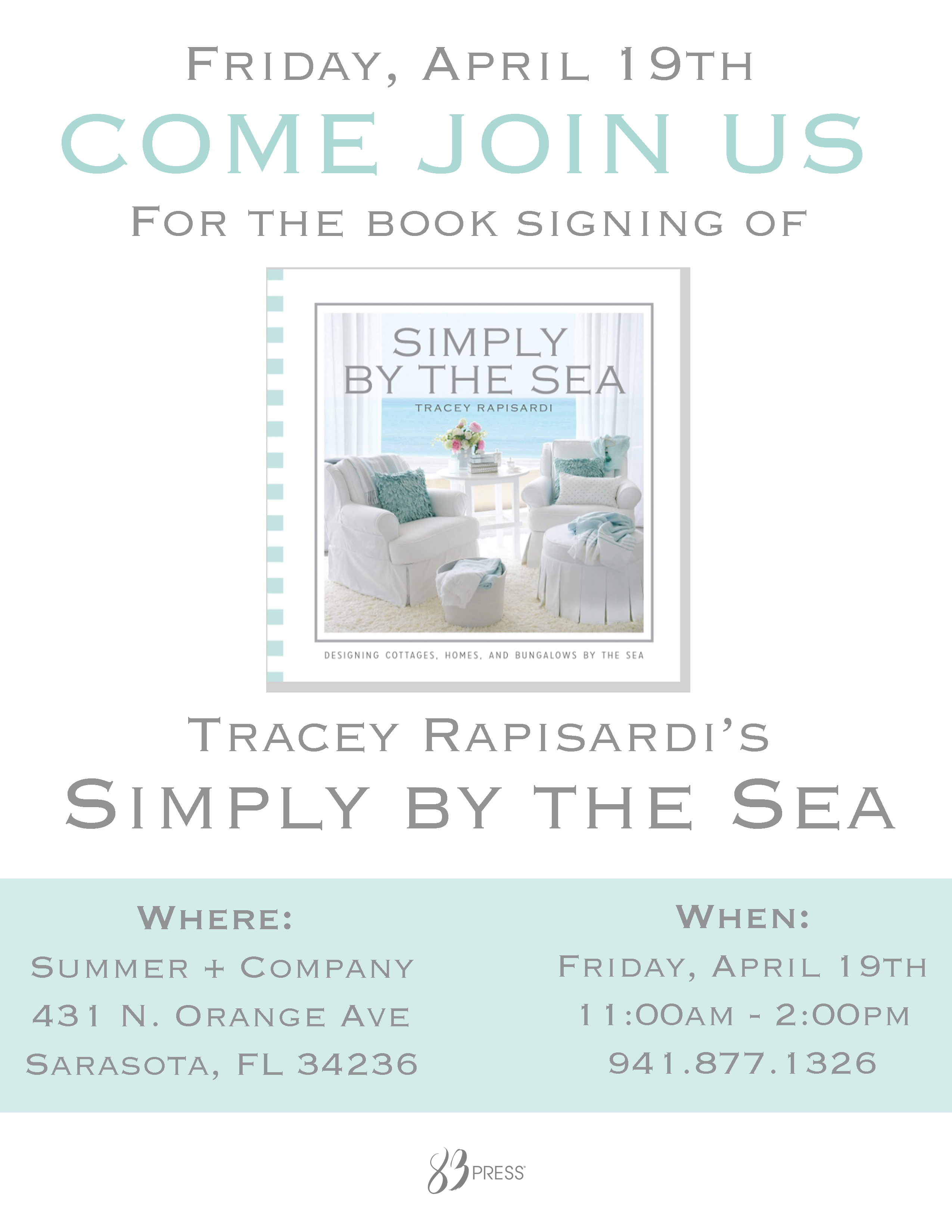 BOOK SIGNING: Simply by the Sea | Tracey Rapisardi Style